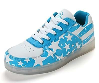 Honeystore Unisex 7 Farbe Farbwechsel USB Aufladen LED Leuchtend High-Top Sport Schuhe Hoch Sneaker Turnschuhe Blau 37 CN NBIK5a