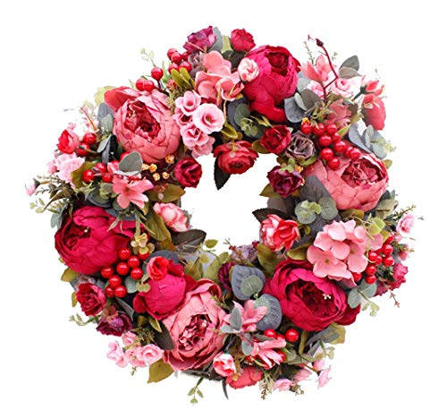 Hbfyq ghirlanda decorativa europeo rosso rosa peonia artificiale fiore porta in rattan ornamenti decorazione della parete decorazioni per la casa dimensioni 40 * 40 cm