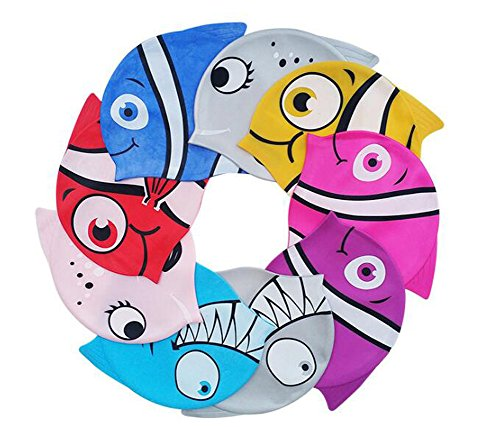 Erioctry 1pcs impermeabile in silicone elastico swim cap lovely cute cartoon style swim hat great for baby boy girls (colore casuale)