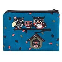 Kukubird Owl Family On Tree Spring/Summer Design Print Zipper Simple Make-up Bag Pencil Case - Owl Family Blue
