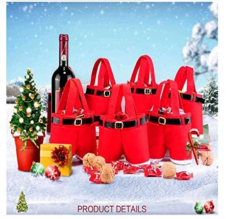 Elegante e raffinato 10 pz sacchetto di vino di natale, contenitori di vino pantaloni di babbo natale sacchetti regalo e dolcetto con manico cestini regalo di caramelle portatili confezione regalo per