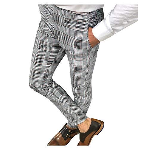 Pantalones para Hombre, Pantalones Moda Pop Casuales Chándal de Hombres Jogging Pants Trend Largo Pantalones Impresión a Cuadros Pantalones de Traje Diseño de Personalidad