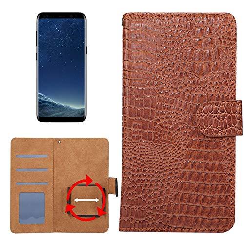 Krokodil-drehung (Allshopstock (#52) für Kompatibel mit : Galaxy S8 & S7 Edge & Kompatibel mit : Huawei P9 Plus Universal Drehung Klammer Krokodil Textur Flip- Leder-Etui (Braun))