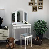 Tuff Concepts Girls White Mirrored Dressing Table 3 Mirrors Makeup Desk with chair and 1 Drawer for Bedroom