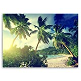 ge Bildet® hochwertiges Leinwandbild - Sonnenuntergang am Strand Takamaka, Mahé - Seychellen - 40 x 30 cm einteilig 1073