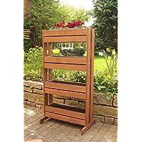Soporte vertical de madera para plantas con 4 maceteros de plástico (ancho de 65 cm x profundo de 40/20 cm x alto de 125 cm)