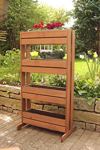Fioriera verticale resistente per coltivare cetrioli o erbe aromatiche, funge anche da separé in legno con 4vasi di plastica, larghezza x profondità x altezza: 65 x 40/20x 125cm