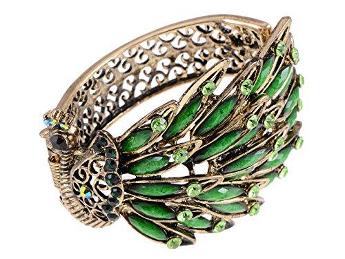 Alilang Frauen Antik vintage Retro Gold Gumetal Bronze Türkis Grün Kristall Strass Pfau Armband Armreif