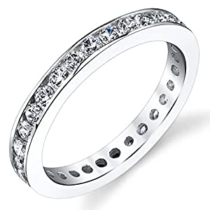 Revoni 1.50 Carats White Cubic Zirconia Eternity Ring in Sterling Silver Size J