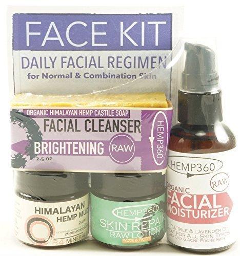 Organic Raw Face Kit - Daily Facial Regime - Brightening - Normal & Combination Skin by Hemp360