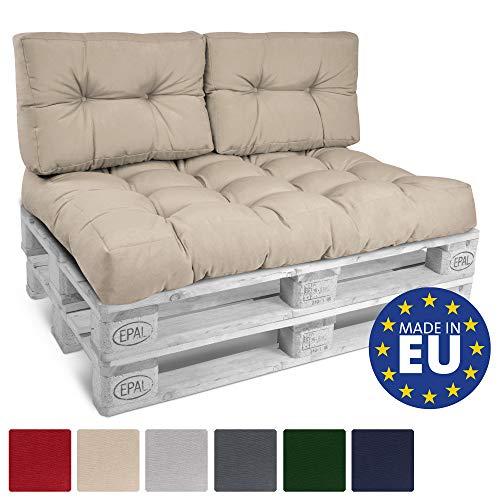 Beautissu Palettenkissen ECO Style 2er Set Rückenkissen 120x40x10-20cm Outdoor Palettenauflage Palettenpolster mit Oeko-Tex in Beige
