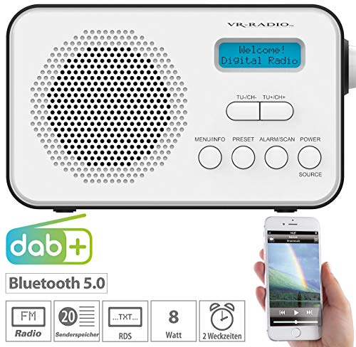 VR-Radio Radio: Mobiles Akku-Digitalradio mit DAB+ & FM, Wecker, Bluetooth 5, 8 Watt (Radio DAB)