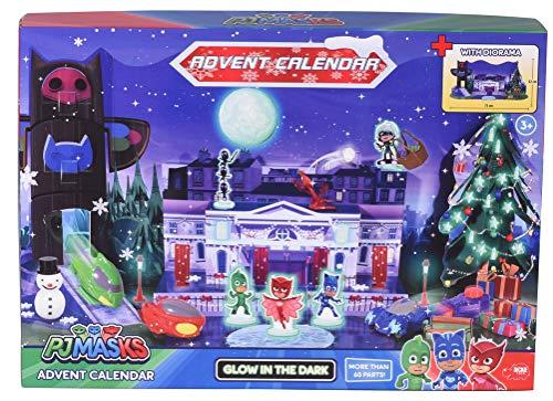 51hjy2YQmgL - Dickie Toys 203149003 Advent Calendar PJ Masks Kinder, Adventskalender Spielzeug inkl. 3 Die-Cast-Fahrzeuge & 5 Figuren, zum Aufhängen oder Aufstellen, Mehrfarbig