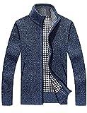 SWISSWELL Herren Strickjacke Cardigan Feinstrick mit Stehkragen Und Fleece-Innenseite Reißverschluss Lang Ärmel Jacke Pullover Coat Mantel Blau EU-XL/Herstellergröße-3XL