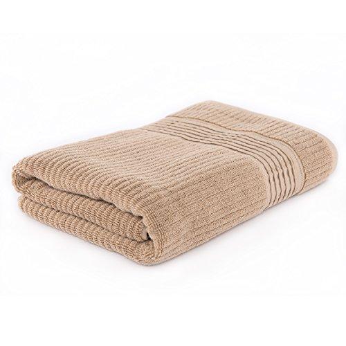 100% toalla de baño de algodón de lujo Pure Color de baño absorbente secado rápido de grosor con lunares ondulado, marrón claro, 70cm X 137cm