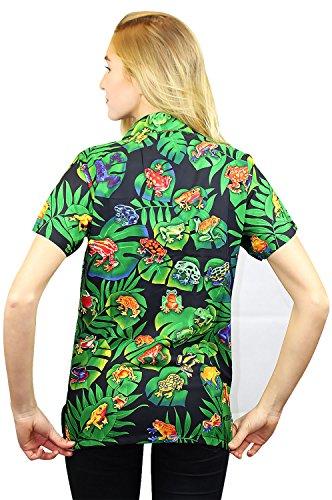 Original King Kameha | Funky Hawaiibluse | Damen | XS - 6XL | Kurzarm | Front-Tasche | Hawaii-Print | Regenwald Frösche | Schwarz Schwarz