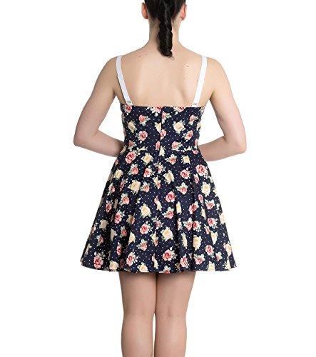 Hell Bunny Navy Blue Floral Roses Flowers Mini Dress Emma Polka Dot XS 8