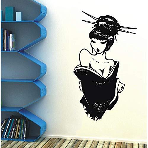 jiushizq Fotomurale Decalcomania Salone di Bellezza Geisha Adesivo in Vinile Poster Giappone Manga Giapponese Oriental Girl Home Bedroom Decor Art Design Fai da Te WW Bianco 42X72CM
