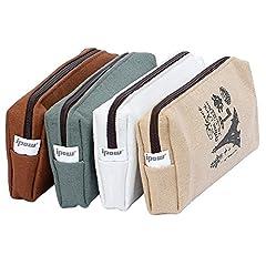 Idea Regalo - ipow 4pz Astuccio portapenne Astuccio vintage Astuccio scuola Astuccio a bustina in tela e cerniere Lavabile Misura ideale 21 x 8,8 x 4.5 cm o come borsa per cosmetici o portamoneta