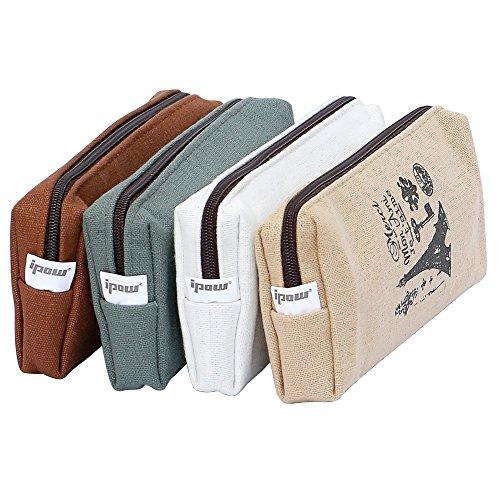 Ipow 4 Stück vintage Leinwand Einfache Stil Federmäppchen Stiftemappe Kleingeldbeutel Kosmetik Make-up Bag, Braun/Beige/Grau/Weiß