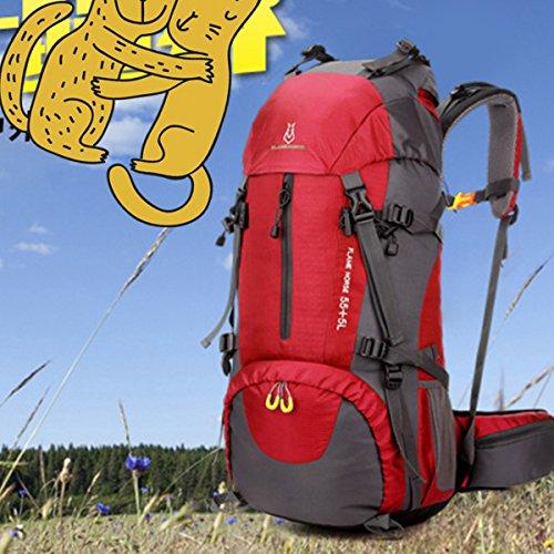 szbtf 60L Rucksack Wasserdicht Outdoor Sport Trekking Camping Pack Bergsteigen Klettern Rucksack mit Regenschutz rosarot