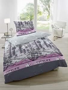 2 tlg Renforce Bettwäsche Garnitur Set Citylife, Größen 135 x 200 cm und 155 x 220 cm Kopfkissen 80 x 80 cm, 100% Baumwolle, Farbe Pink, mit Reißverschluss Größe 135 x 200
