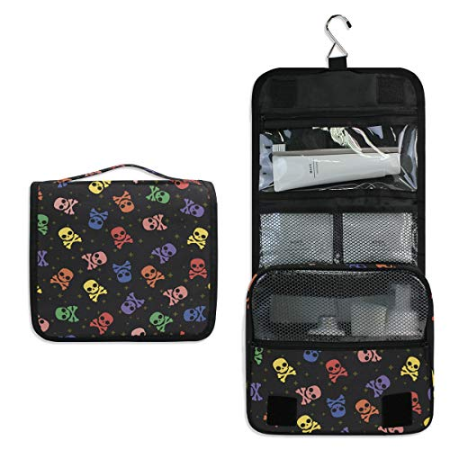 Vinlin Pirate Skull Multifunction Portable Makeup Storage Bag Travel Hanging Organizer Bag for Women