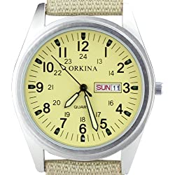 Orkina Mens Biege Dial Quartz Nylon Date Day Fabric Band Wrist Watch P104CA-SBI
