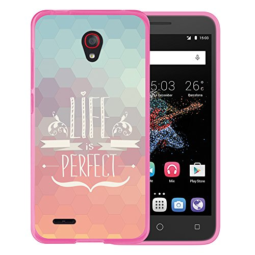 WoowCase Alcatel OneTouch Go Play Hülle, Handyhülle Silikon für [ Alcatel OneTouch Go Play ] Satz - Life is Perfect Handytasche Handy Cover Case Schutzhülle Flexible TPU - Rosa