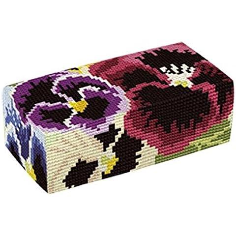 Brigantia Needlework - Kit per fermo porta arazzo del lavoro di cucito  a punto croce - D1765 Pansies