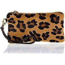Monedero de piel con dorsal acabado Dollaro y frontal en piel de potro grabado animal print motivo leopardo. Made in ITALY. Vera pelle italiana.