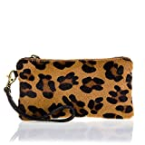 Firenze artegiani. Women Wallet genuine leather Portfolio Leather Bovine with Natural Hair of Foal Animal Print Leopard made in Italy. Vera Pelle Italian. 19 x 10 x 2 cm. Colour: Leopard