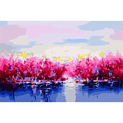 Painting shop DIY Digital Leinwand Ölgemälde Geschenk für Erwachsene Kinder Malen nach Zahlen Kits Hauptdekorationen-Waterside Blossom 16 * 20 Zoll