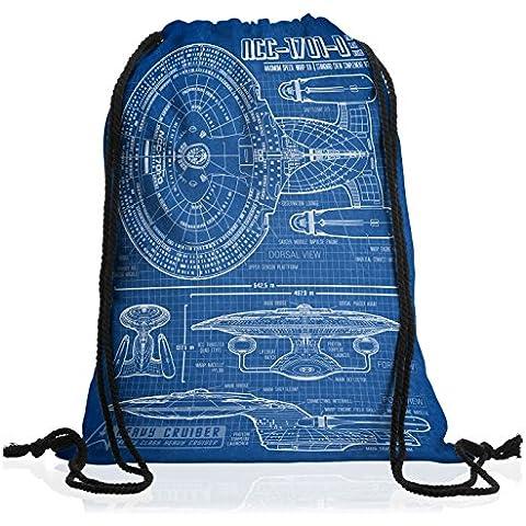 style3 NC-1701-D Cianotipo Bolsa mochila bolsos unisex gymsac fotocalco azul trek trekkie star