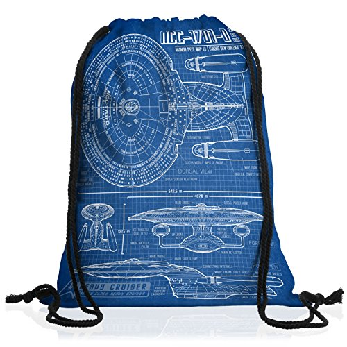 style3 NCC-1701-D Cianografia Borsa da spalla sacco sacchetto drawstring bag gymsac trek trekkie star