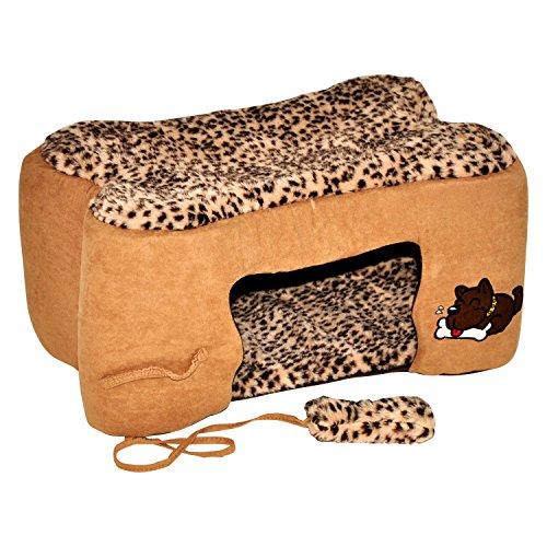 """hundeinfo24.de nanook """"Bones – Hundehöhle Katzenhöhle Wildlederoptik – kleine bis mittelgroße Hunde und Katzen – Größe M (60 x 37 cm) – braun"""