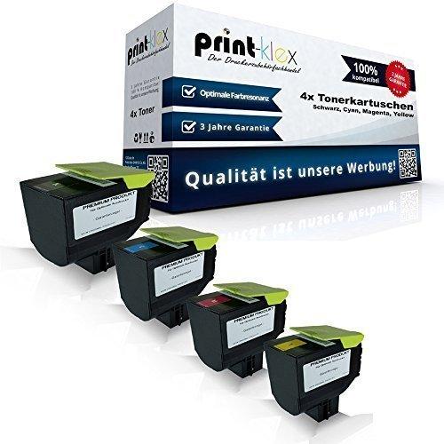 Preisvergleich Produktbild 4x kompatible Tonerkartuschen für Lexmark CX410de CX410dte CX410e CX510de CX510dhe CX510dthe 802HK 802HC 802HM 802HY Black Cyan Magenta Yellow Sparset