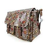 Stylla London Oilcloth Owl/Butterfly/Dog/Skull/Polka dots Designer Satchel Cross body Messenger Bag (Owl Grey)