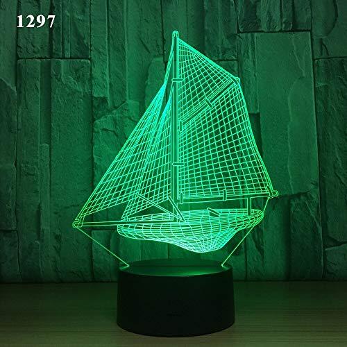 Segelboot Segelyacht U-Boot Design Nachtlicht Acryl Illusion Farbe Kinder Freunde Geschenk Geschenk Spielzeug Werfen Boot