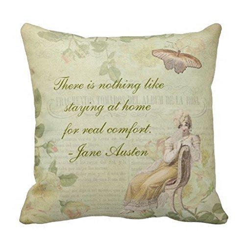 AHArtSaleStore O28L Jane Austen Floral Throw Pillow 18 X 18 Square Pillowcase