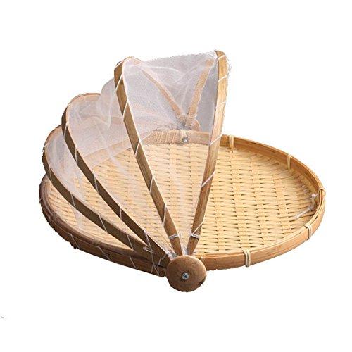 Gefaltete Lidern Bambus Einfache Multi-funktionale Obstschalen,Brotkorb Ablagekorb Für das leben Esszimmer-A Durchmesser35cm(14inch)