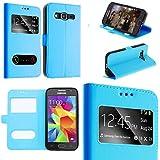 Coque Samsung Galaxy A3 2016 bleu ciel housse étui flip cover double fenetre, ultra fine plusieurs couleurs- couleur étui bleu ciel
