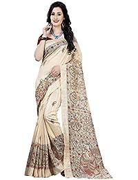 Cotton Cream Color Bhagalpuri Saree With Blouse