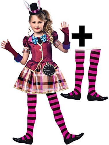 Miss Mad Hatter + Tights Girls Fancy Dress Fairy Tale Book Day Week Kid Costume