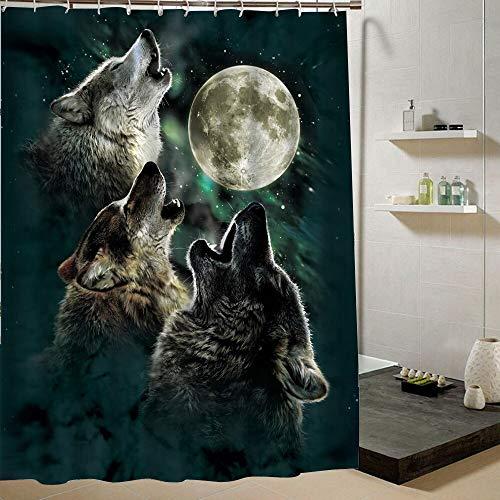 HHIAK666 Dusche Vorhang Wolf In Den Blauen Himmel Nacht Himmel Mode Tier Wolf Muster Polyester Stoff Wasserdicht Badezimmer Dekor 180X200CM c (Stoff Dusche Vorhang Tiere)
