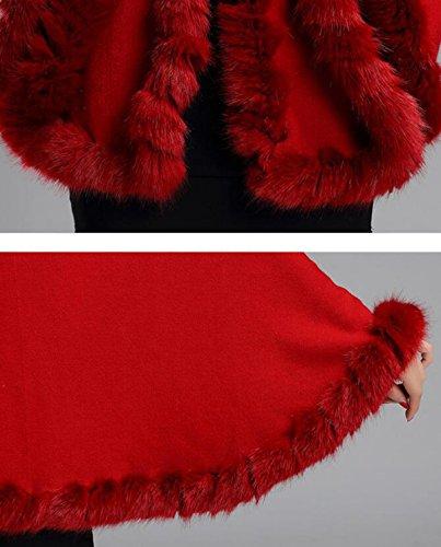 Autunno E Inverno Nuovo Squisito Colletto Di Pelliccia Maglia Maglione Maglione Mantello Tipo Sciolto Red