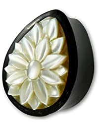 Fly Style® - 1 Stück - Tropfenförmiger Ohr Plug aus Büffelhorn mit Perlmutt Inlay - Lotus Blume