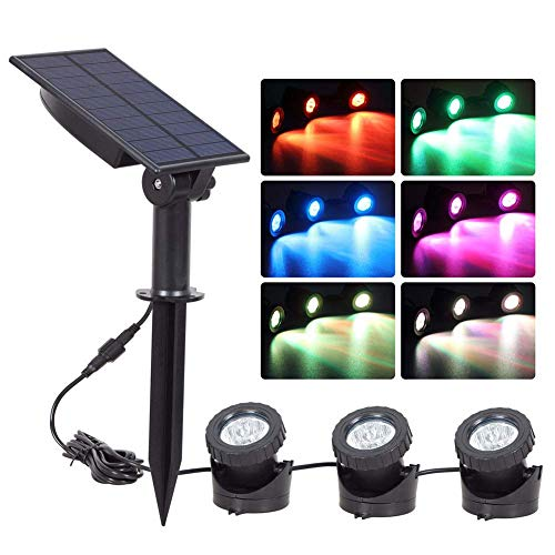 Solar Focos With 3 Grb Luces 18 Leds, Ajustable Impermeable Cambia de Color Jardín Piscina Estanque Yarda Paisaje Acuática Paisaje Lámpara Luces para el Jardín Piscina Estanque Exterior Decoración