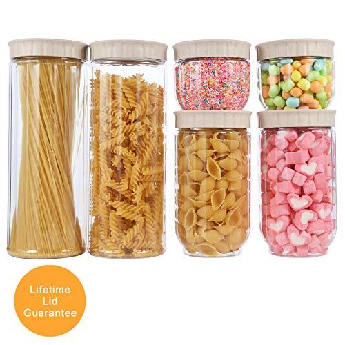 Contenitori per alimenti fatto da fibra di grano, set di 6 contenitori per la conservazione degli alimenti con coperchi per la conservazione per tè, caffè, riso, pasta con airtight coperchi, beige