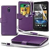 ( Purple ) HTC Desire 610 Ledergeldbörse Flip Hülle Tasche Mit-Schirm-Schutz-Schutz & Aluminium In Ear Ohrhörer Stereo-Kopfhörer-Kopfhörer Hands Free-Headset mit Mikrofon Mic & On-Off-Taste Einbau By i-Tronixs